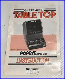 Nintendo Game & Watch Tabletop Popeye PG-74 RARE Futuretronics Version